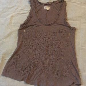 Embroidered sequin tank